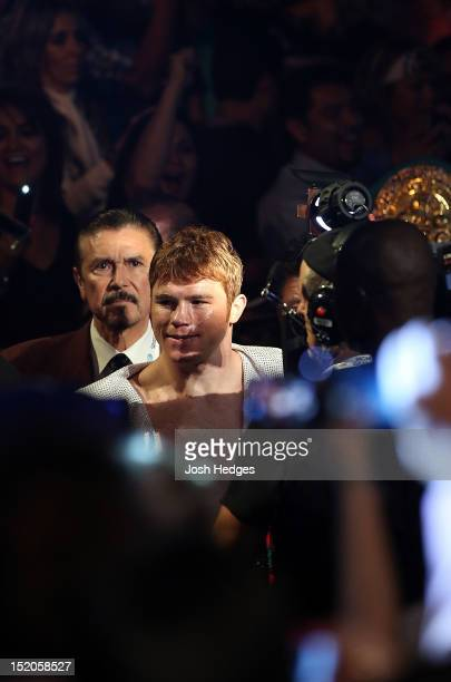 Canelo Alvarez enters the arena before his WBC super welterweight title defense against Josesito Lopez at MGM Grand Garden Arena on September 15 2012...