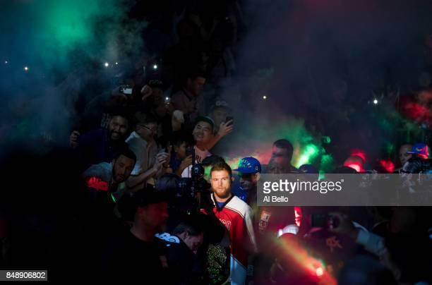 Canelo Alvarez enters the ring against Gennady Golovkin before their WBC WBA and IBF middleweight championship bout at TMobile Arena on September 16...