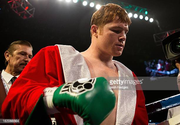 Canelo Alvarez enters the ring before his WBC super welterweight title defense against Josesito Lopez at MGM Grand Garden Arena on September 15 2012...