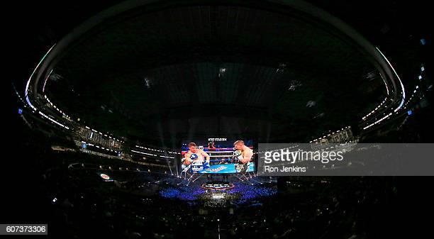 Canelo Alvarez fights Liam Smith during the WBO Junior Middleweight World fight at ATT Stadium on September 17 2016 in Arlington Texas
