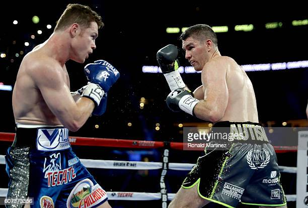 Canelo Alvarez fights Liam Smith during the WBO Junior Middleweight World bout at ATT Stadium on September 17 2016 in Arlington Texas