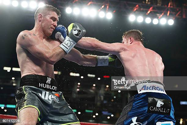 Canelo Alvarez fights Liam Smith during the WBO Junior Middleweight World fight at ATT Stadium on September 17 2016 in Arlington Texas