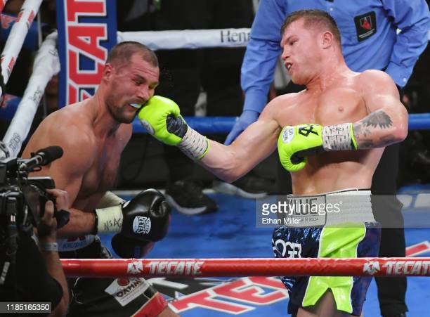 Canelo Alvarez hits Sergey Kovalev in the 10th round of their WBO light heavyweight title fight at MGM Grand Garden Arena on November 2 2019 in Las...
