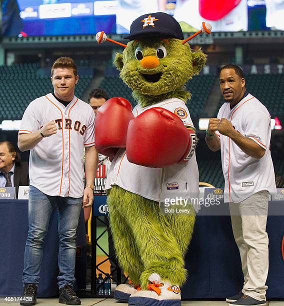 Canelo Alvarez Houston Astros mascot Orbit and James Kirkland pose during a press conference for the May 9th fight between Alvarez and Kirkland at...