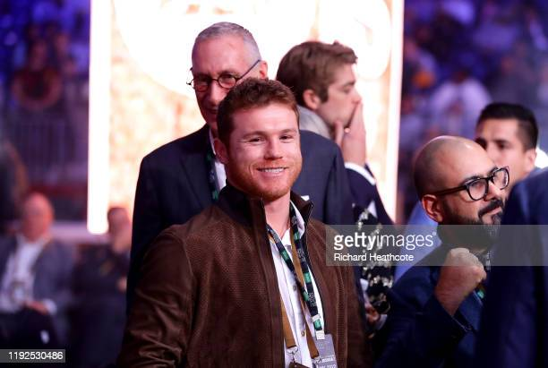 Canelo Alvarez is seen ringside prior to the of the WBC World Heavyweight Elimnator fight between Alexander Povetkin and Michael Hunter during the...
