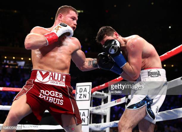 Canelo Alvarez lands a punch against Rocky Fielding during their WBA Super Middleweight title bout at Madison Square Garden on December 15 2018 in...