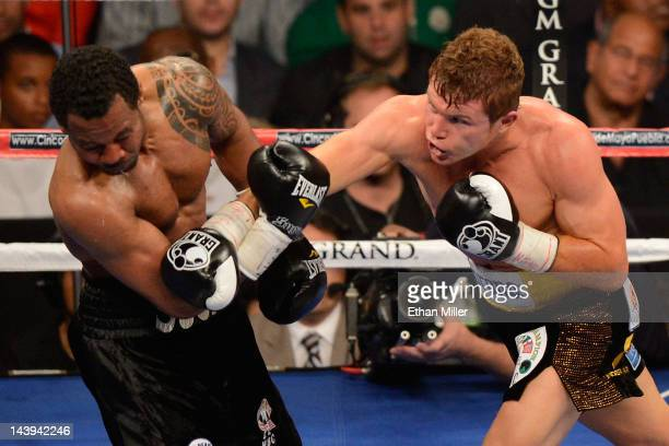 Canelo Alvarez lands a right to the face of Shane Mosley during their WBC super welterweight title fight at the MGM Grand Garden Arena on May 5 2012...