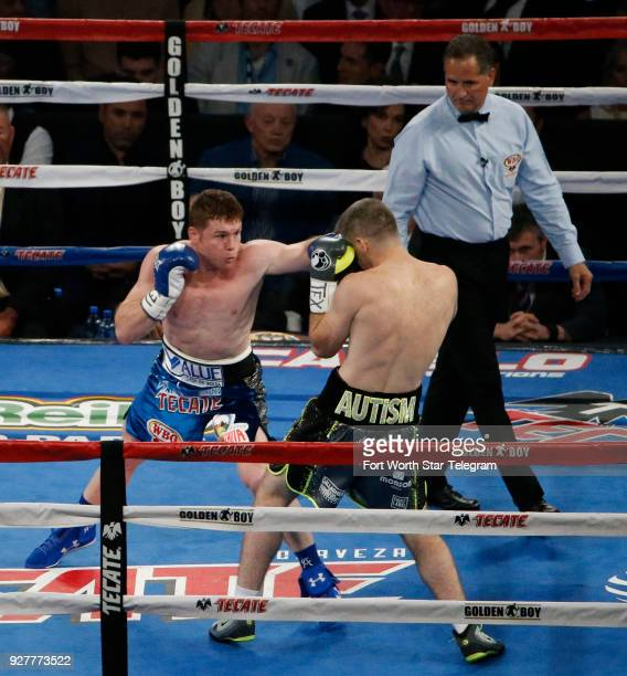 Canelo Alvarez left fights Liam Smith in Round 1 for the WBO Junior Middleweight title at ATT Stadium in Arlington Texas on Saturday Sept 17 2016...