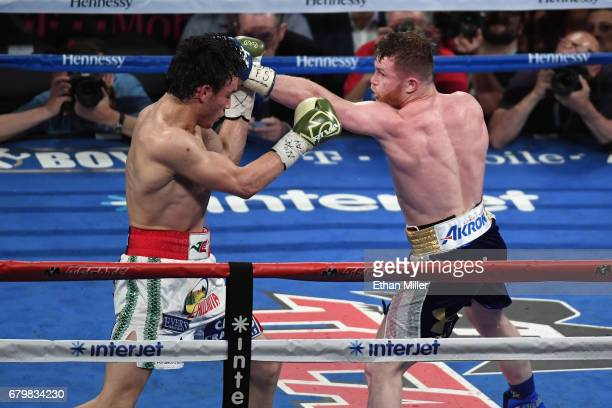 Canelo Alvarez punches Julio Cesar Chavez Jr during their catchweight bout at TMobile Arena on May 6 2017 in Las Vegas Nevada Alvarez won by...