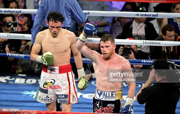 Canelo Alvarez raises his arm in victory after defeating Julio Cesar Chavez Jr on May 6 2017 at the TMobile Arena in Las Vegas Nevada Saul 'Canelo'...