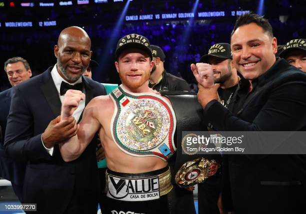 Canelo Alvarez reacts after his majority decision victory over Gennady Golovkin in their middleweight championship bout at T-Mobile Arena on...