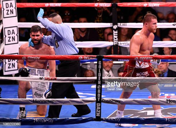 Canelo Alvarez reacts after the technical knock out of Rocky Fielding in their WBA Super Middleweight title bout at Madison Square Garden on December...