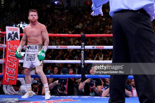 Canelo Alvarez stands in his corner against Daniel Jacobs during their middleweight unification fight at T-Mobile Arena on May 04, 2019 in Las Vegas,...