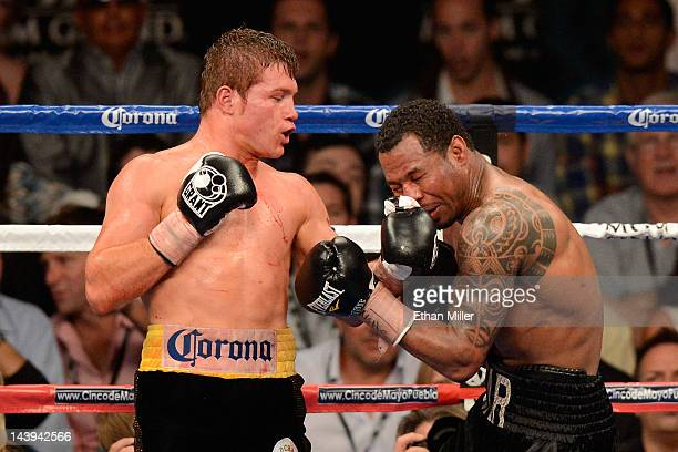 Canelo Alvarez throws a left to the head of Shane Mosley during their WBC super welterweight title fight at the MGM Grand Garden Arena on May 5 2012...