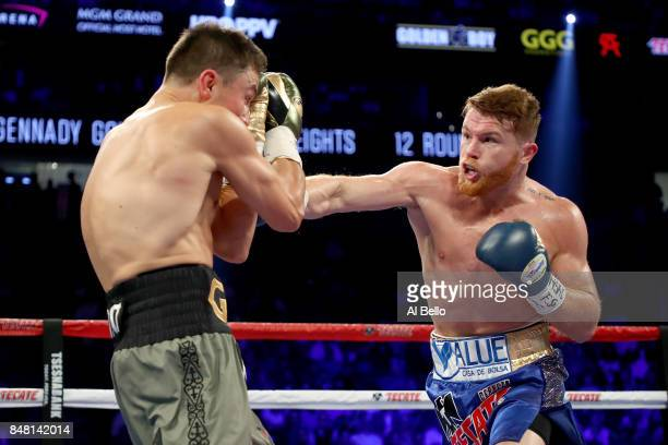 Canelo Alvarez throws a punch at Gennady Golovkin during their WBC, WBA and IBF middleweight championship bout at T-Mobile Arena on September 16,...