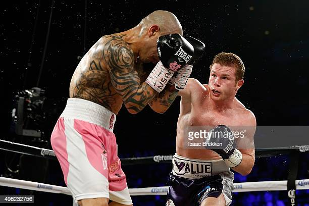 Canelo Alvarez throws a right at Miguel Cotto during their middleweight fight at the Mandalay Bay Events Center on November 21 2015 in Las Vegas...