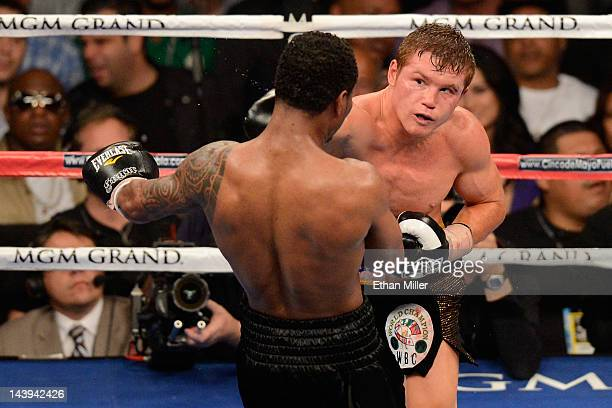 Canelo Alvarez throws a right to the head of Shane Mosley during their WBC super welterweight title fight at the MGM Grand Garden Arena on May 5 2012...