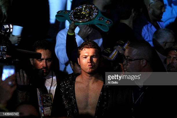 Canelo Alvarez walks to the ring to take on Shane Mosley for their WBC super welterweight title fight at the MGM Grand Garden Arena on May 5 2012 in...