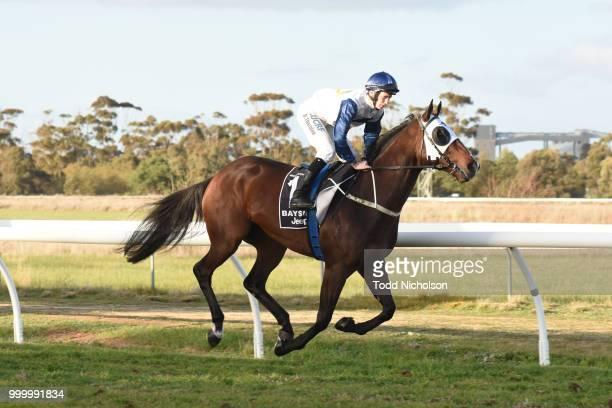 Canelo ridden by Damien Thornton goes out for the QLS Logistics Murtoa Cup 6th Oct BM64 Handicap at Murtoa Racecourse on July 16 2018 in Murtoa...