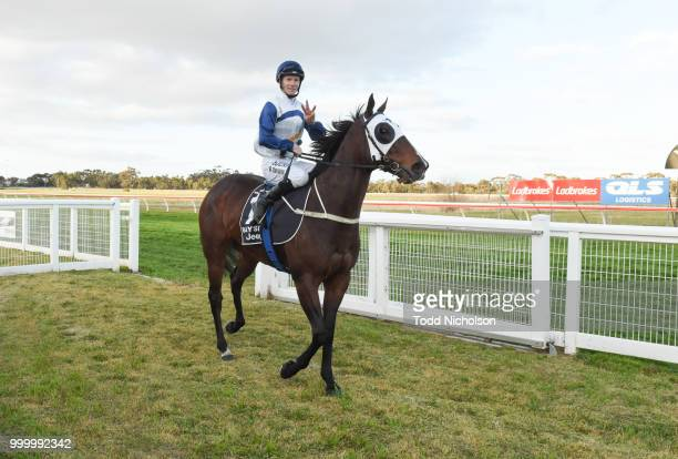 Canelo ridden by Damien Thornton retuirns after the QLS Logistics Murtoa Cup 6th Oct BM64 Handicap at Murtoa Racecourse on July 16 2018 in Murtoa...