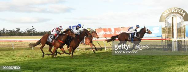 Canelo ridden by Damien Thornton wins the QLS Logistics Murtoa Cup 6th Oct BM64 Handicap at Murtoa Racecourse on July 16 2018 in Murtoa Australia