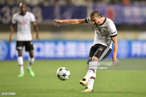 Caner Erkin of Besiktas in action during the International Champions Cup match between Schalke 04 and Besiktas at Zhuhai Sports Centre Stadium in...