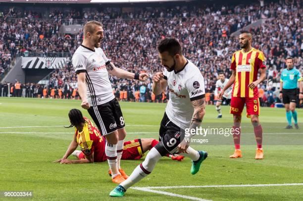 Caner Erkin of Besiktas JK Alvaro Negredo Sanchez of Besiktas JK during the Turkish Spor Toto Super Lig football match between Besiktas JK and Evkur...