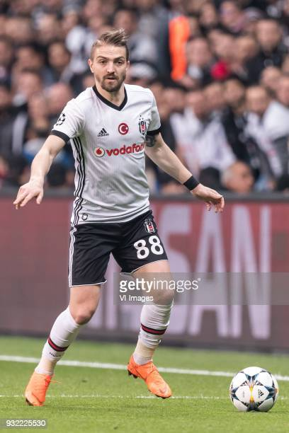 Caner Erkin of Besiktas JK during the UEFA Champions League round of 16 match between Besiktas AS and Bayern Munchen at the Vodafone Arena on March...