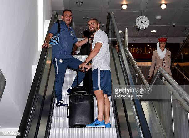 Caner Erkin of FC Internazionale at Malpensa Airport on July 16 2016 in Milan Italy