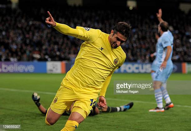 Cani of Villareal celebrates scoring the opening goal during the UEFA Champions League Group A match between Manchester City and Villareal CF at the...