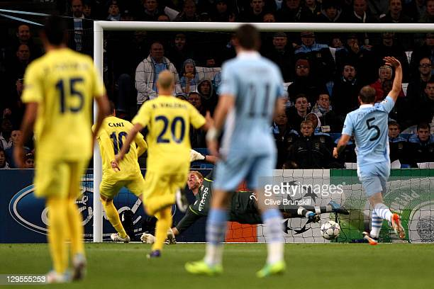 Cani of Villareal scores the opening goal during the UEFA Champions League Group A match between Manchester City and Villareal CF at the Etihad...