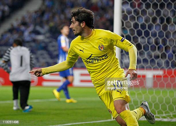 Cani of Villarreal celebrates after scoring his side opening goal during the UEFA Europa League semi final first leg match between FC Porto and...