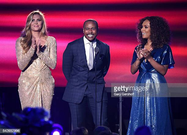 Canids Cayne Tiq Milan and Janet Mock speak at 2016 Logo's Trailblazer Honors at Cathedral of St John the Divine on June 23 2016 in New York City...