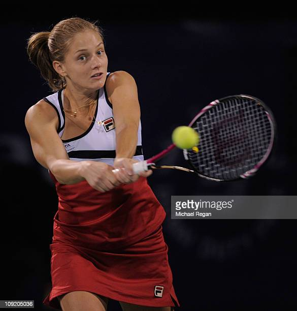 CAnna Chakvetadze of Russia plays a shot in her Round 2 match against Caroline Wozniacki of Denmark during day three of the WTA Dubai Duty Free...