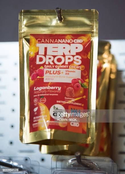 Canna Nano CBD Terp Drops in loganberry flavor are displayed at the Green Pearl Organics dispensary on the first day of legal recreational marijuana...