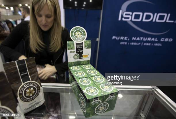 Cannabidiol infused k-cups of tea and coffee sit on display at the Pot-O-Coffee vendor booth during the Montreal Cannabis Expo in Montreal, Quebec,...