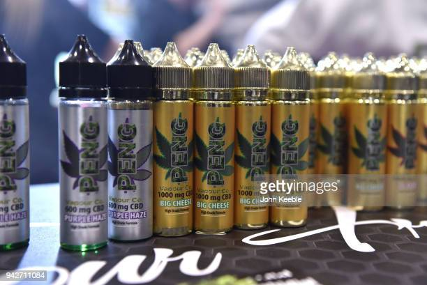 Cannabidol CBD ELiquid on display during the Vape Jam UK 4 at ExCel on April 6 2018 in London England Vape Jam UK the premier Electronic Cigarette...