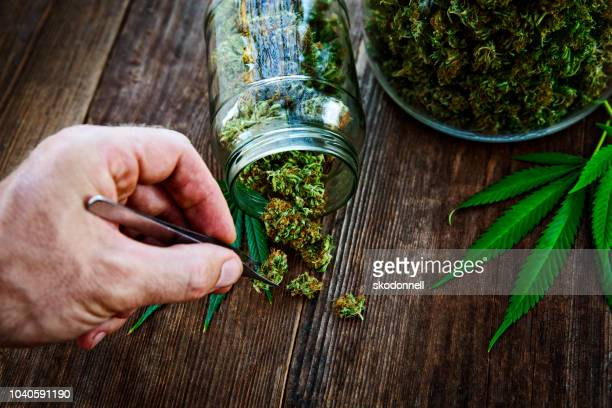 cannabis bud pouring out of a glass jar on wood background - bud stock pictures, royalty-free photos & images