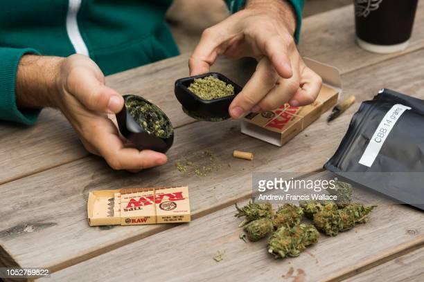 Cannabis educator Jonathan Hirsh uses a grinder in preparations of rolling a marijuana cigarette during an 'End of Prohibition' party to celebrate...