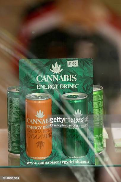 Cannabis energy drinks are seen for sale in the window of a 'Headshop' on February 26 2015 in Manchester England There has been a significant rise in...