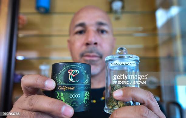 Cannabis entrepreneur Virgil Grant displays two strains of medical marijuana he developed California Cannabis OG and Crucial Candy at a dispensary he...