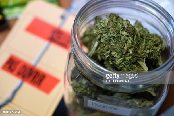 Cannabis flowers that were meant to be sold as herbal tea are pictured at a police station in Brest western France on August 1 2018 Nearly two...