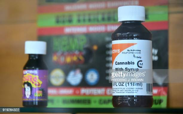Cannabis in its various forms including as a syrup is on display and available at Virgil Grant's dispensary in Los Angeles California on February 8...