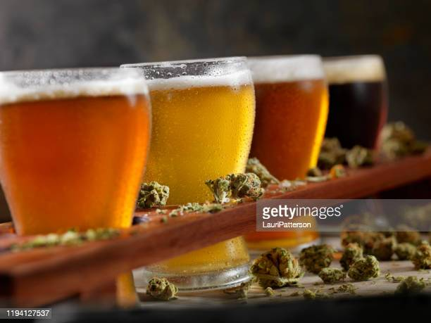 cannabis infused beer samplers - help:ipa stock pictures, royalty-free photos & images