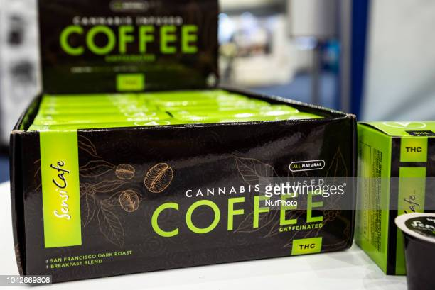 Cannabis infused coffee on display at the Cannabis World Congress amp Business Expo in Los Angeles California on September 27 2018 The annual...