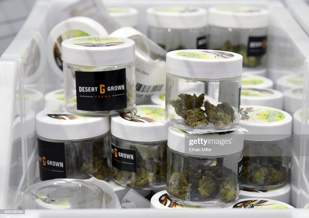 Cannabis is displayed at Essence Vegas Cannabis Dispensary before the midnight start of recreational marijuana sales on June 30, 2017 in Las Vegas, Nevada. On July 1, Nevada joins seven other states allowing recreational marijuana use and becomes the first of four states that voted to legalize recreational sales in November's election to allow dispensaries to sell cannabis for recreational use to anyone over 21.
