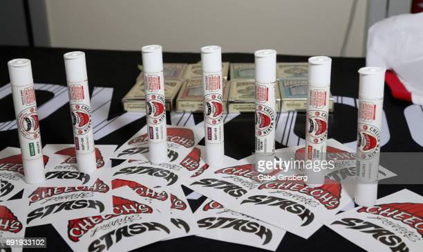 Cannabis products by Cheech Marin are displayed during a meet and greet to introduce Marin's new line of cannabis products at Essence Vegas Cannabis...