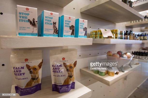 Cannabis products for pets are displayed at MedMen one of the two Los Angeles area pot shops that began selling marijuana for recreational use under...