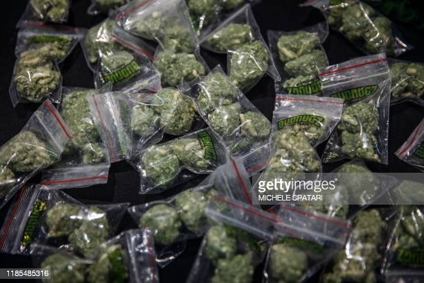 Cannabis shaped chocolate cookies are seen at the Cannabis Expo the largest trade and consumer exhibition on the African continent focusing on the...