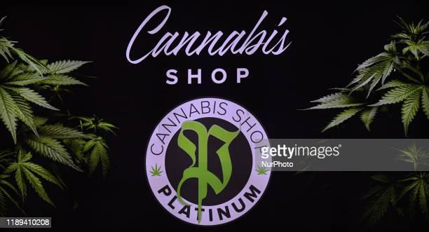 Cannabis shop logo seen in Krakow. On Monday, December 17 in Krakow, Poland.
